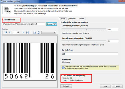 Split PDF files based upon the barcode inside the PDF file by using A-PDF Scan and Split1