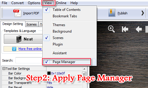 Apply Page Manager of A-PDF FlipBook Creator