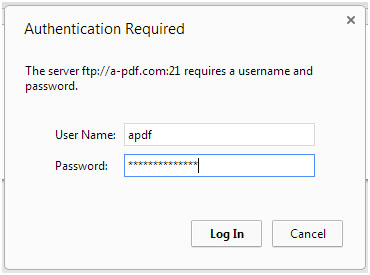 login ftp via web browser