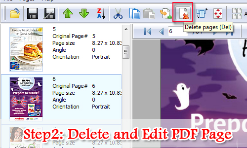 Delete PDF pages manually as you like by using A-PDF Page Master