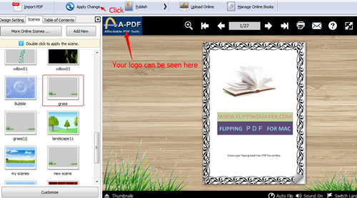add a brand logo to flipbook to increase brand awareness by using A-PDF Flip Book Maker3