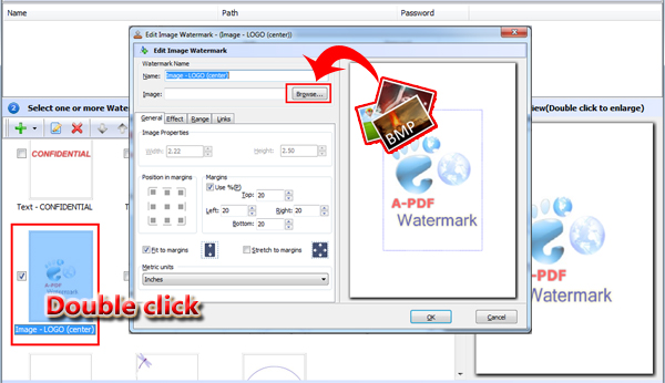 select image watermark and customize watermark