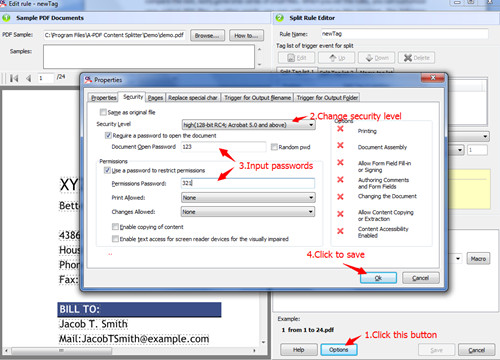 add password to protect PDF file with A-PDF Content Splitter3