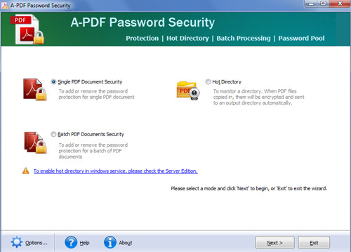 apply permissions to PDF so as to prevent any copying, editing or printing by using A-PDF Password Security1