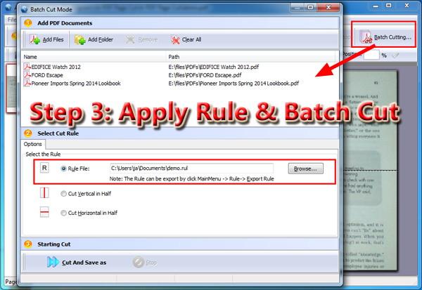 apply cutting rule for batch cutting PDF pages
