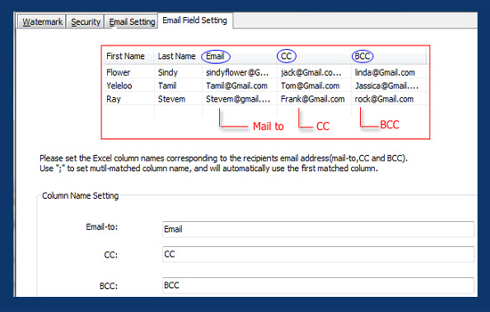 send email with BCC and CC