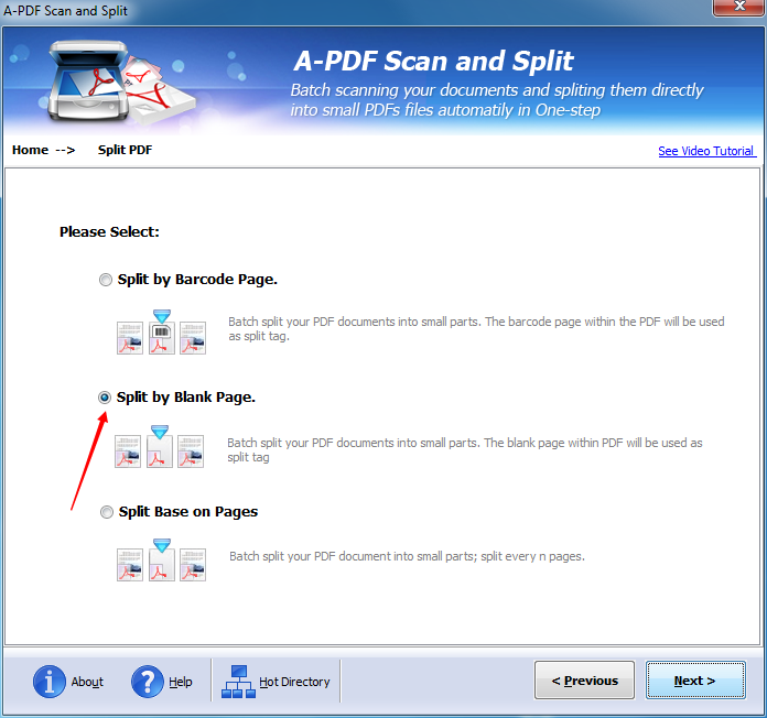 How to split your PDF file based on the blank page with A-PDF Scan and Split?