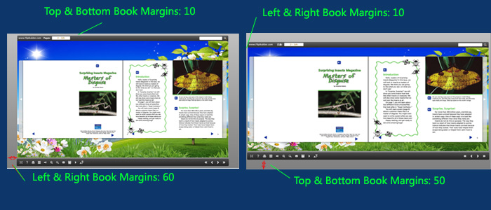 define book margins for the flash page turn book