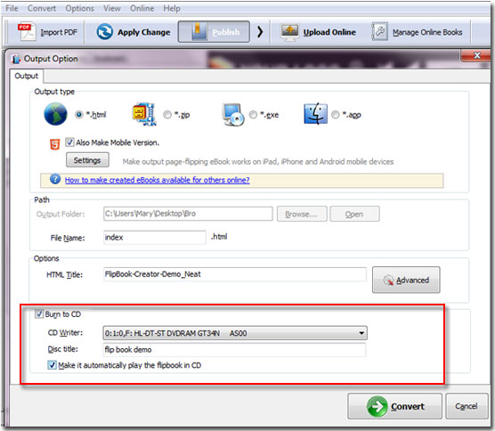 how to put a pdf file on cd disc