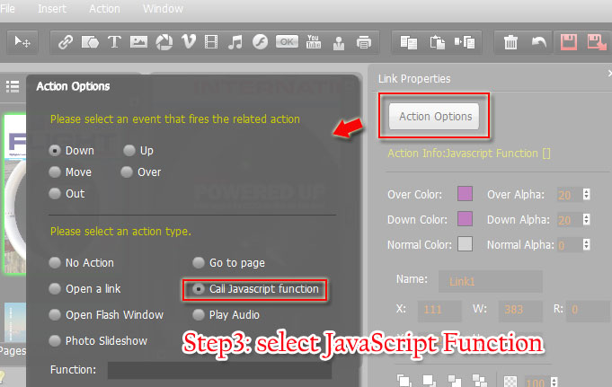 Where to select Call JavaScript Function Action Type? [A-PDF