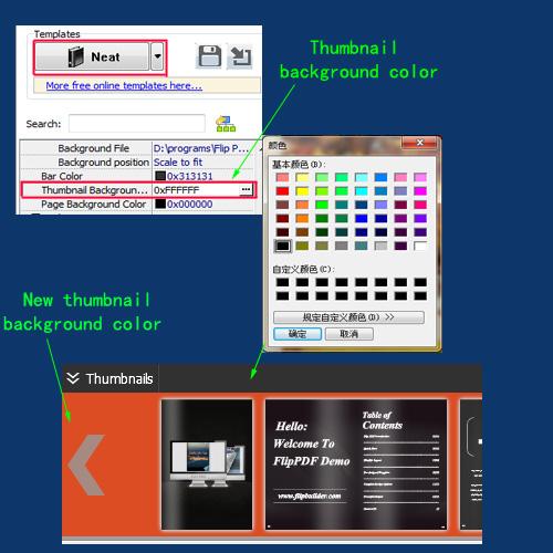 define color for flip book thumbnail background