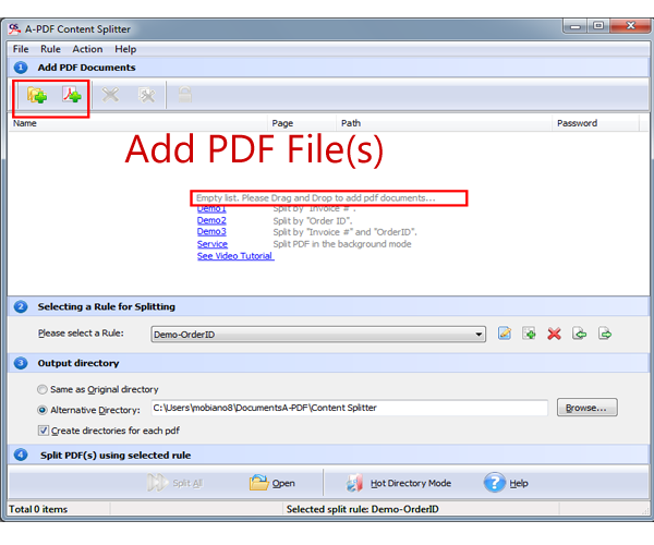 How to Split PDF into separate files based on text within