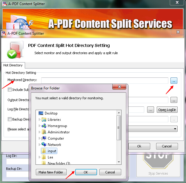How to batch split PDF files based on content with Hot Directory Mode by using A-PDF Content Splitter?
