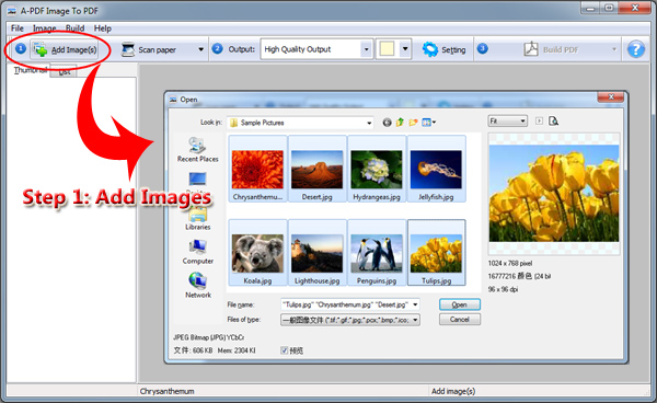 add images for converting to pdf file