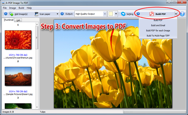 convert images to pdf file