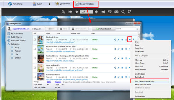 How to display online flipbook on visual bookshelf? [A-PDF com]