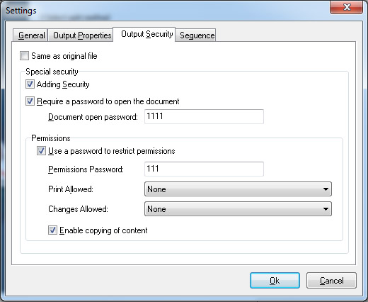 add password security to encrypt split PDF files