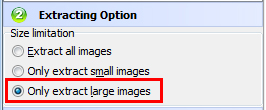 set size option for extracting large images