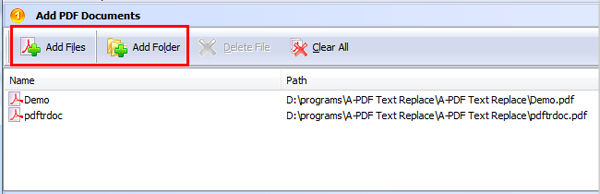 add PDF for replacing text