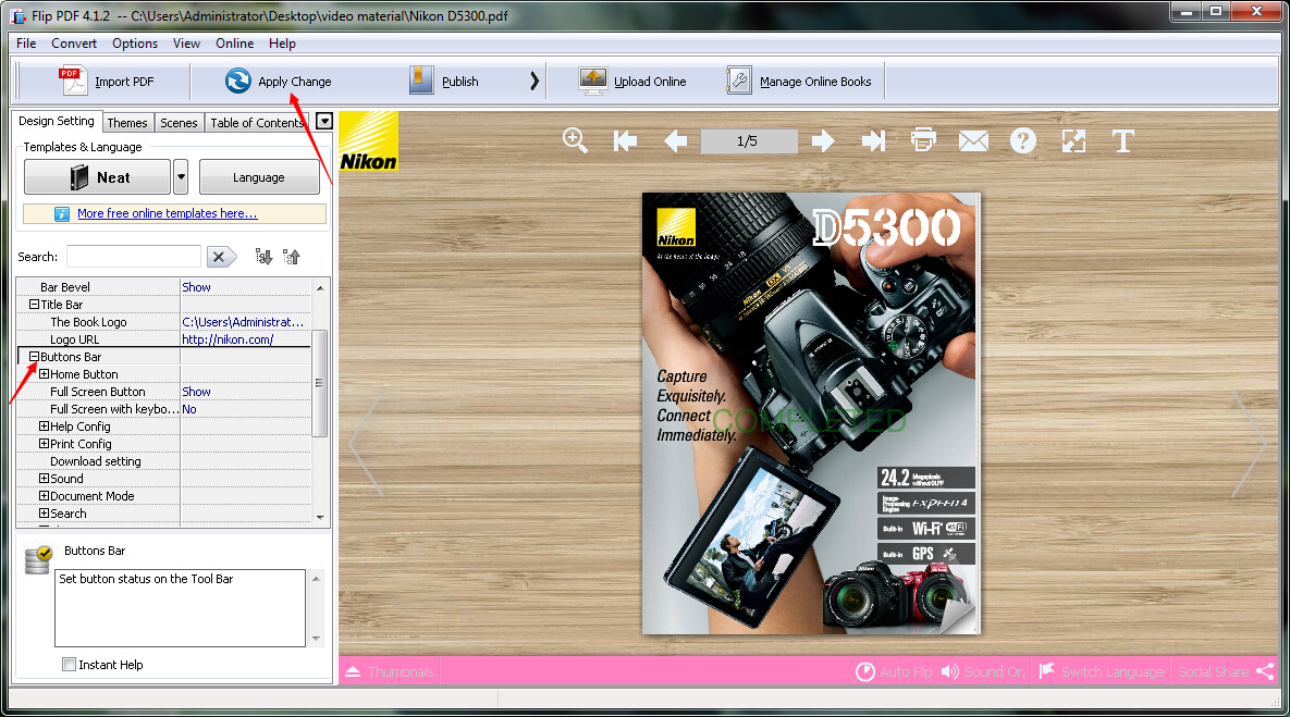How to create a new flipbook theme with your own design by using A-PDF FlipBook Maker?