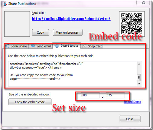 Create and copy the flipbook embed code to your website for
