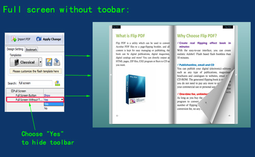 How to hide the toolbar while viewing flash flip book in