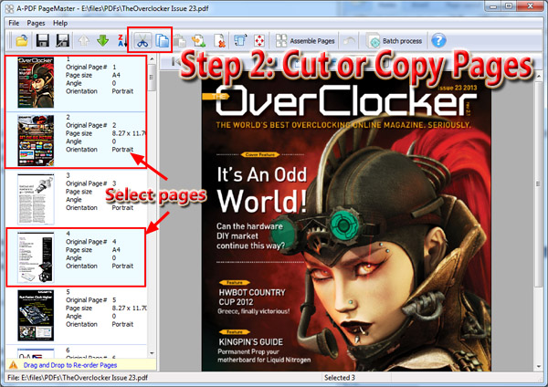 cut or copy PDF pages