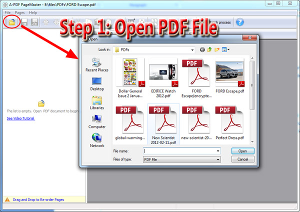 open PDF to cut, copy and paste pages