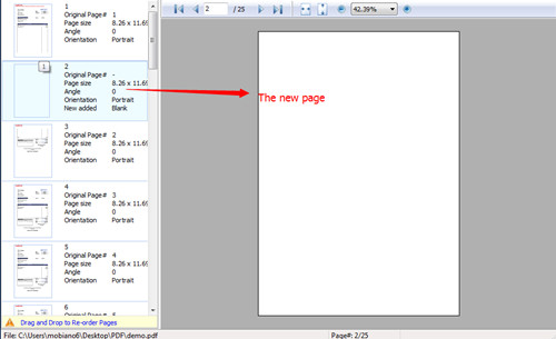 insert new page to PDF with A-PDF Page Master2