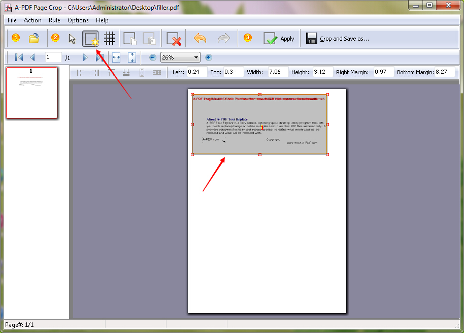 How to remove the blank margin of PDF page by using A-PDF Page Crop?