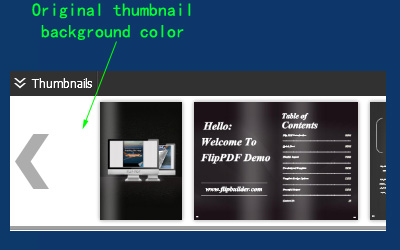 thumbnail background color of flip book