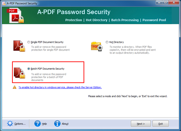 select batch mode to remove password security off PDFs