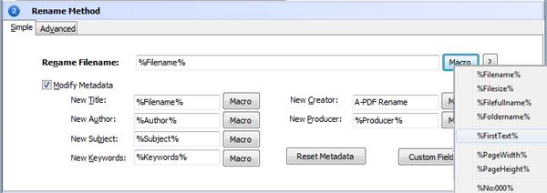 rename PDF file and modify metadata