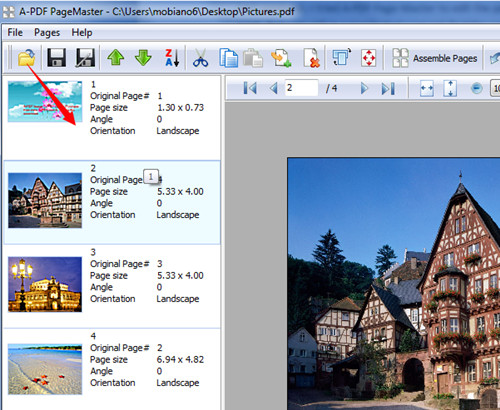 reorder PDF page manually while using A-PDF Page Master1
