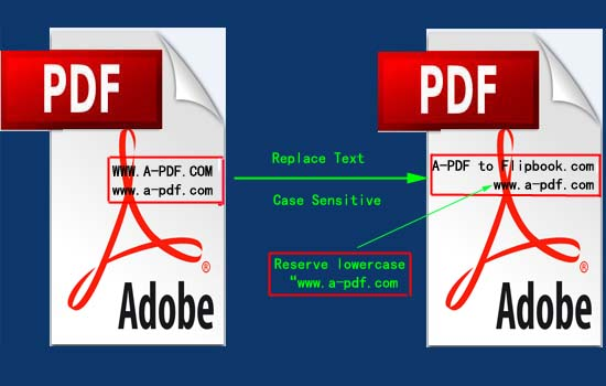 replace pdf text with case sensitive