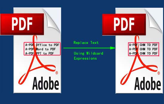 replace pdf text with wildcard expressions