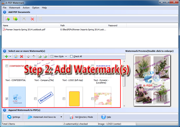 select one or more watermarks to add to PDF