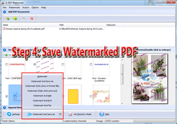 save link settings and watermarked PDF file