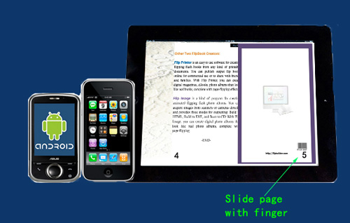 turn page by sliding with finger on portable devices