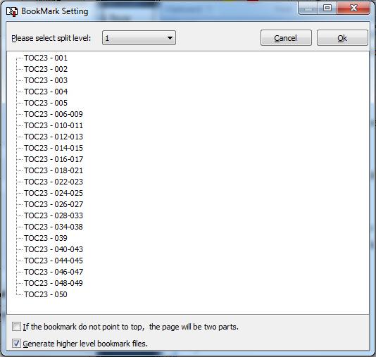 select bookmark level to split pdf