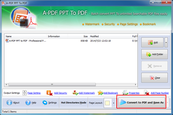 Convert PPT to PDF with watermarked stamped