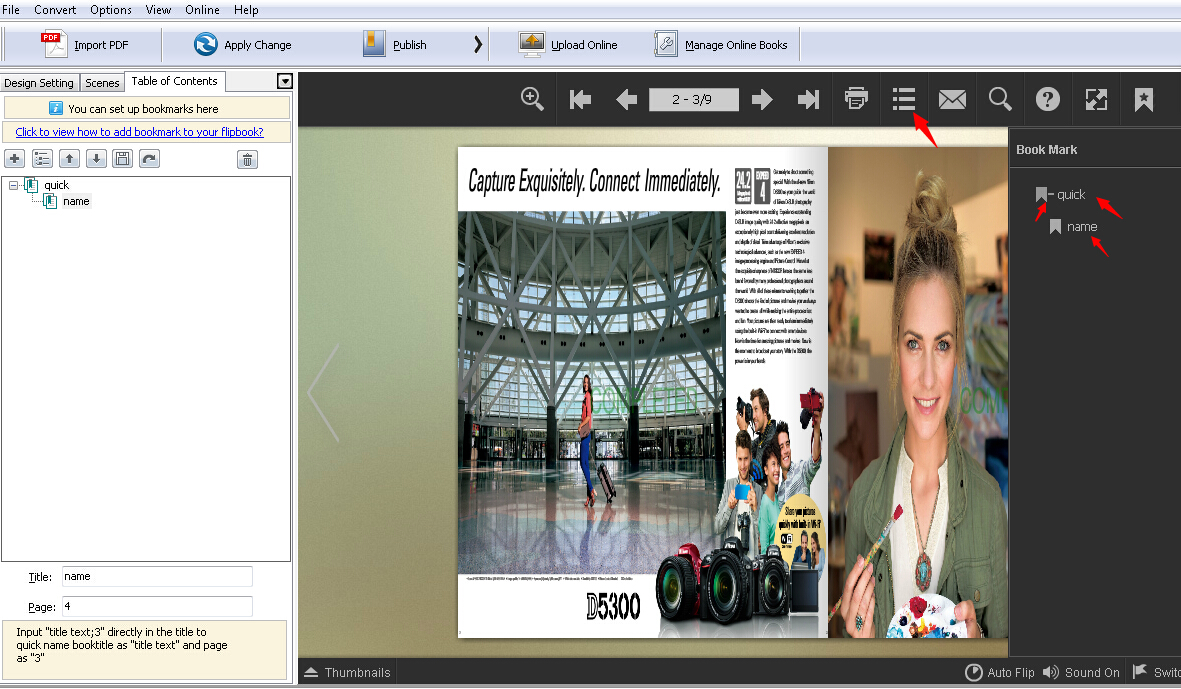 How to create table of contents for your digital magazine by using A-PDF FlipBook Creator?