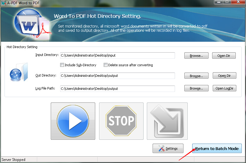 How to convert MS Office Word file to PDF file with Hot Directory Mode by using A-PDF Word to PDF?